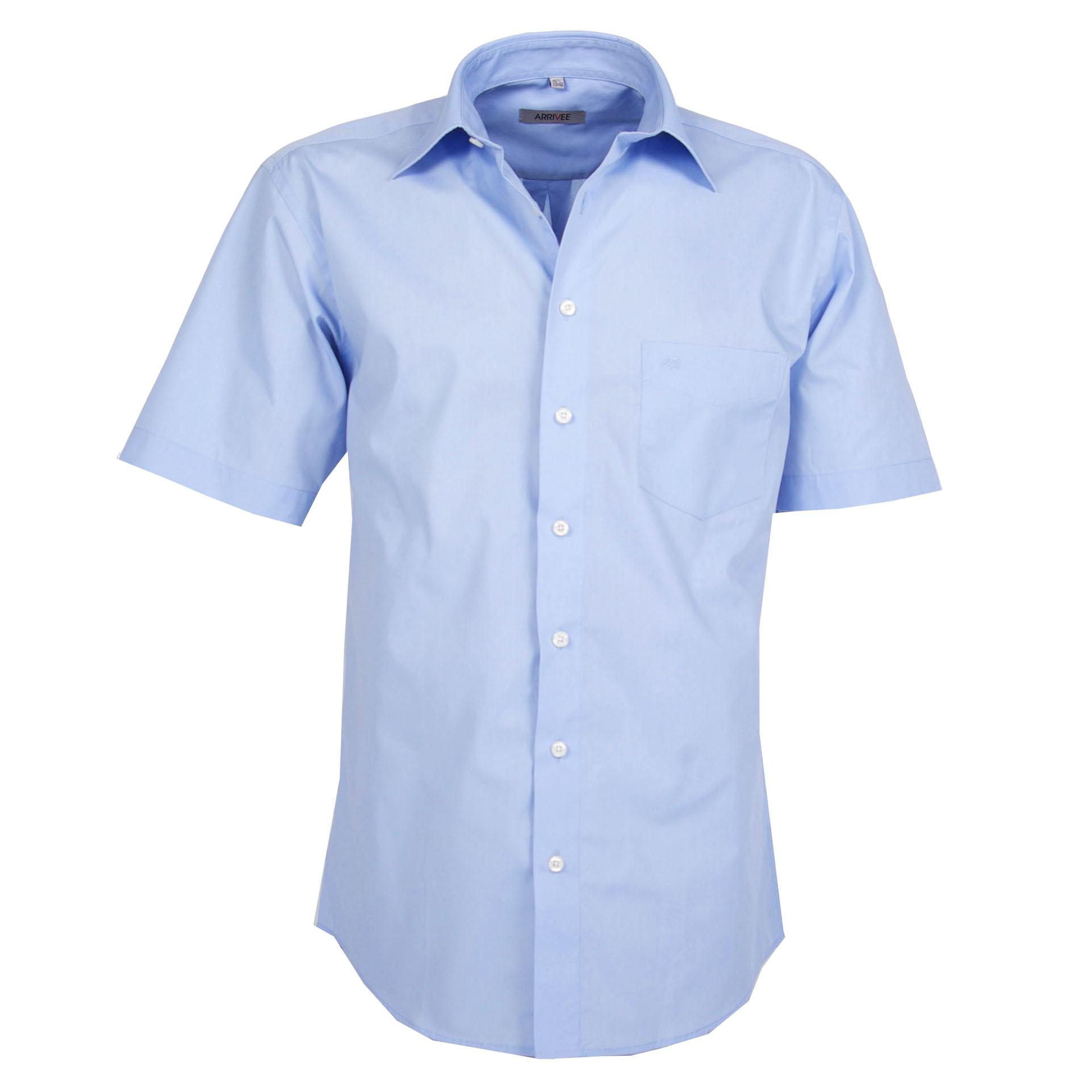 Arrivee Grote Maten Overhemd uni lichtblauw korte mouw