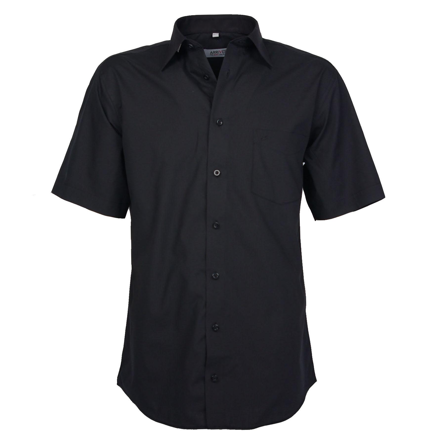 Arrivee Grote Maten Overhemd uni Zwart korte mouw